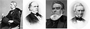 Notable Rivals appointed to Lincoln's cabinet included (from Left to Right): His eventual Republican Secretary of State William H. Seward of New York, Secretary of Treasury Salmon P. Chase – Republican of Ohio, Whig Attorney General Edward Bates and former Democrat Simon Cameron.